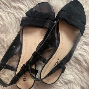 (ELLEN TRACY) black flat shoe with small heel